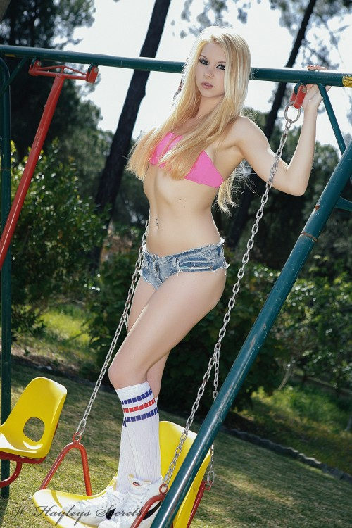 lolly lovewell gets naked on the swings PICTURE 1